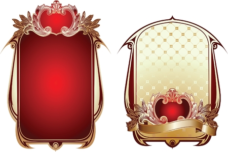 Two Red And Gold Glow Ornate Backgrounds. Vector