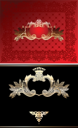 Red, Black And Gold Glow Ornate Background Vector