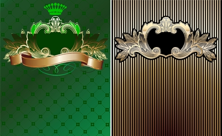 Green, Black And Gold Royal Ornate Backgrounds. Vector