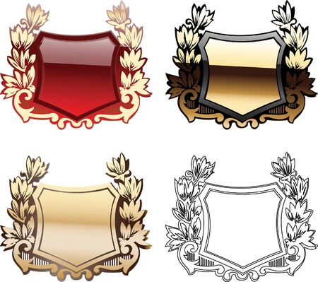 Four Ornate Red And Glow Heraldry Shields Vector
