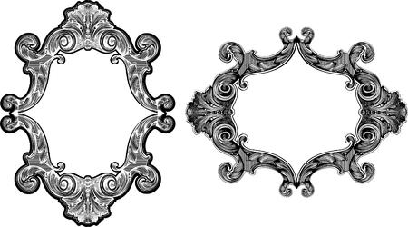 Two Black And White Baroque Art Frames Illustration