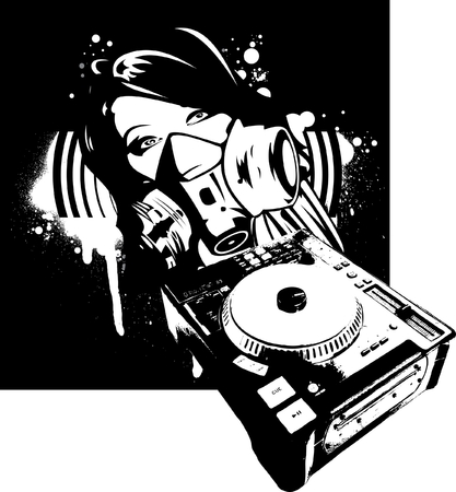 Black And Whiyte Girl DJ In Gas Mask Vector