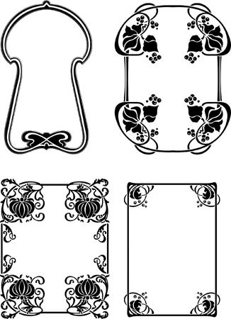 Set Of Four Elegance Baroque Black Frames Stock Vector - 8336512