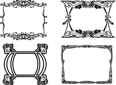 Set Of Four Elegance Baroque Black Frames Stock Vector - 8336514