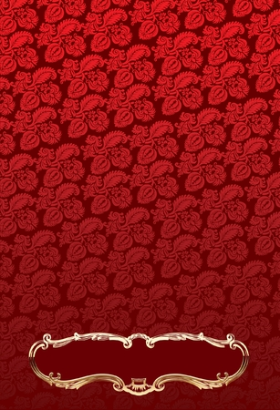antic: Glow Gold Antic Frames Over Red Decorate Wallpaper Illustration