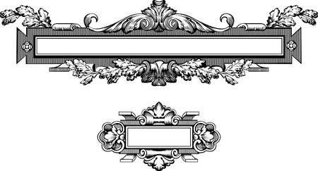 barok ornament: Antique Engraving Frame, schaalbare en bewerkbare vectorillustratie