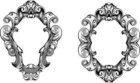 Two Elegant Baroque Ornate Curves Engraving Frames Illustration