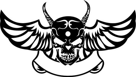 mortalidad: Un Color Wings cornudo Skull. Ilustraci�n vectorial. Vectores