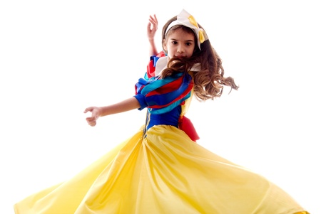 Little Cute Dancing Fairy Girl Over White Background photo
