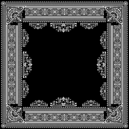 One Color Vector High Ornate Title Frame and Pattern Vector