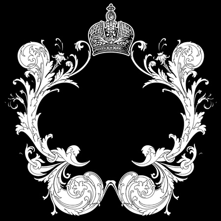 Black And White Ornate Heraldic Art Deco Quad Vector