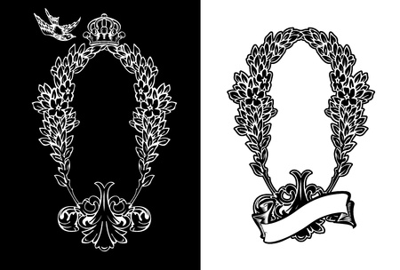 One Color Royal Ornate Vertical Heraldic Wreath. Vector