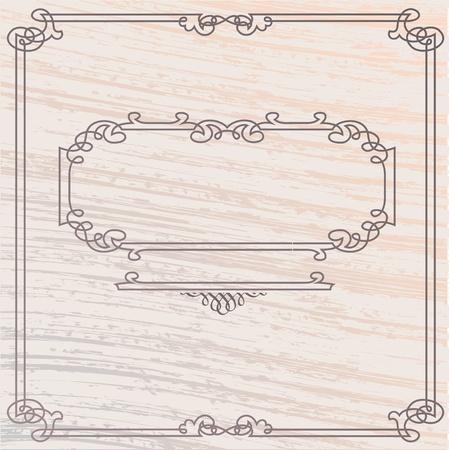inlay: Vector Elegant Old Style Inlay Wood Frame