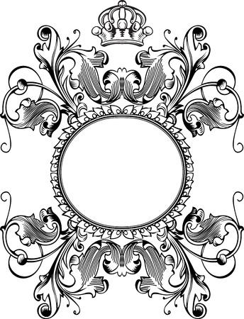 royal crown: One Color Royal Crown Vintage Curves Banner Illustration