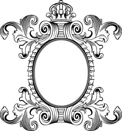 Antique Frame Engraving, Scalable And Editable Vector Illustration Vector