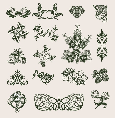 Set Of Vector Ornament In Flower Style Stock Vector - 9934865