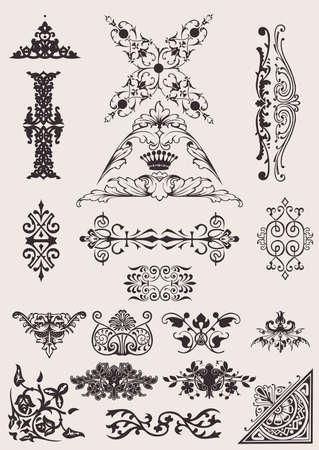 adornment: Set di diversi elementi di Design di stile Vettoriali