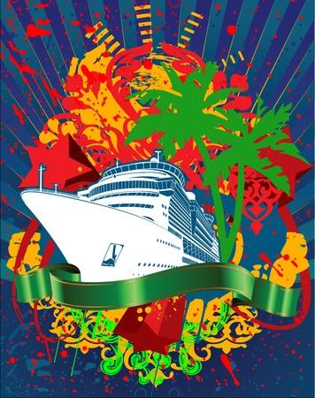 Ocean Cruise Liner Splash And Green Banner Illustration