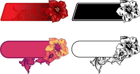 romantically: Set of horizontal vector banners with a flowers