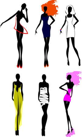 high fashion model: Seis chicas moda silueta. M�s en mi lista. Vectores