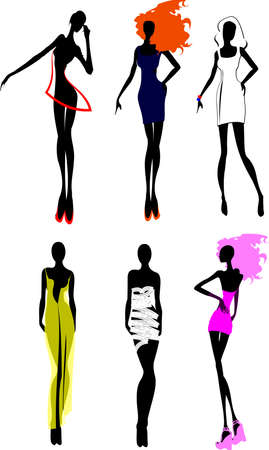 autumn fashion: Six Fashion Girls Silhouette. More In My Portfolio.