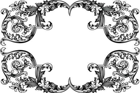 victorian border: Vector Antique Vintage Frame. Isolated On White For Design. Illustration