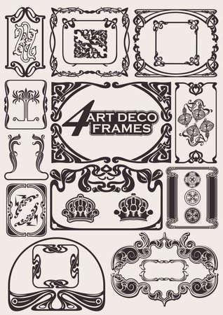 artdeco: Conjunto de marcos antiguos en estilo Art-Deco