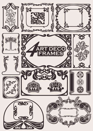 Set Of Ancient Frames In Art-Deco Style Stock Vector - 10704187