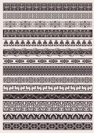 ribetes: Conjunto de borde de elemento ornamental transparente Vectores