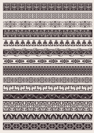 border line: Set Of Seamless Ornate Element Border
