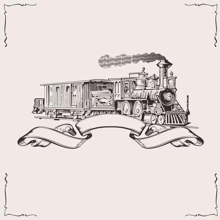 maquina de vapor: Banner locomotora vintage. Ilustración vectorial.