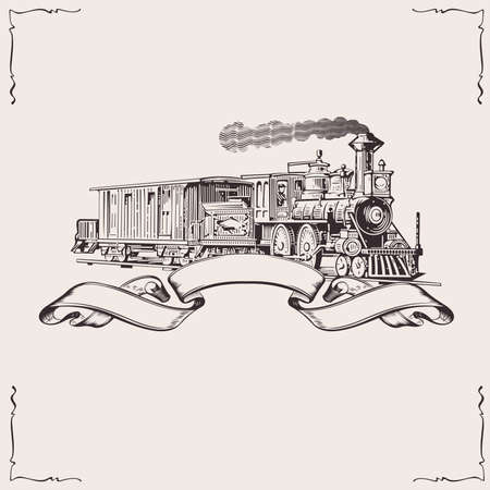 retro sunrise: Vintage Locomotive Banner. Vector illustration. Illustration