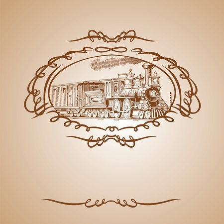 Old Train Brown Banner Vector