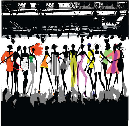 fashion catwalk: Fashion Show Crowd Vector