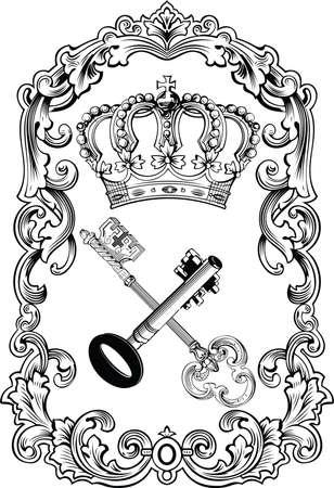 old keys: Royal Frame Crown And Keys