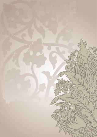 Ornate Flower And Leaves Vintage Background Vector