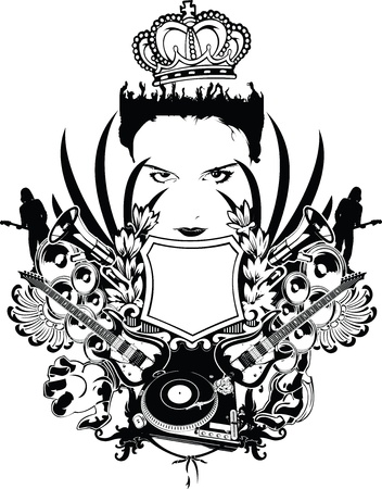 crown wings: One Color Tshirt Music Composition