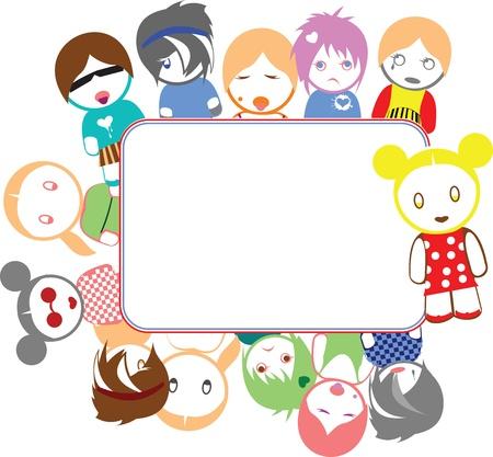 Color Emo Kids Frame Vector