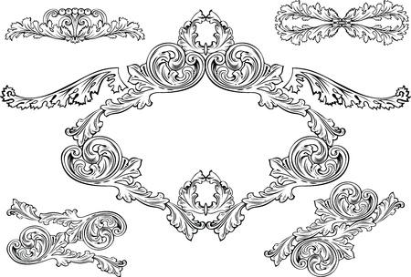 Vintage Barocco Frames And Design Elements Illustration