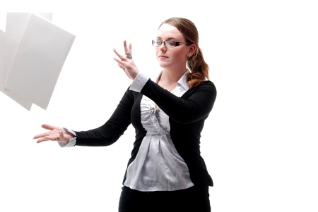 disharmony: Office Girl With Flying Papers Stock Photo