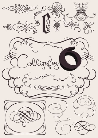 set: calligraphic design elements and page decoration Stock Vector - 13634366