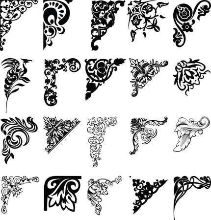 stile liberty: Set da ventuno Corners colore. Elementi di design.