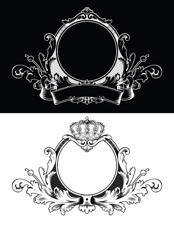 Antique Frame Engraving, Scalable And Editable  Illustration Vector