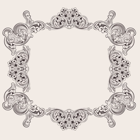 Illustration Luxury Vintage Aluminum Frame Template