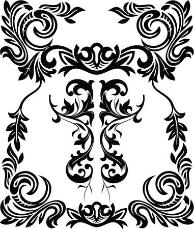 floral ornament: vintage ornamental frame Illustration