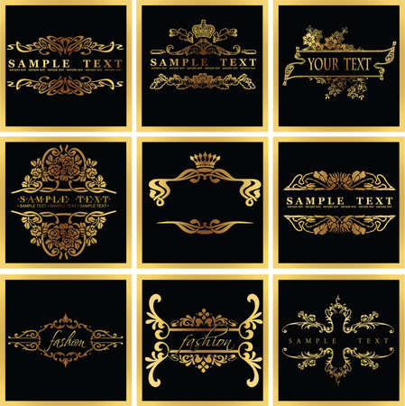 nobility: Decorative Ornate Golden  Quad Frames Illustration