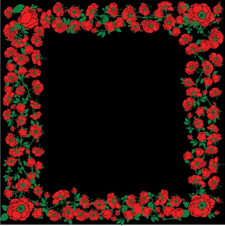 Illustration With Red Rose Floral Frame Decorations On Black Background Vector