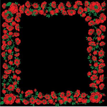 Illustration With Red Rose Floral Frame Decorations On Black Background Stock Vector - 13634917