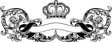 heraldic: One Color Royal Crown Vintage Curves Banner Illustration
