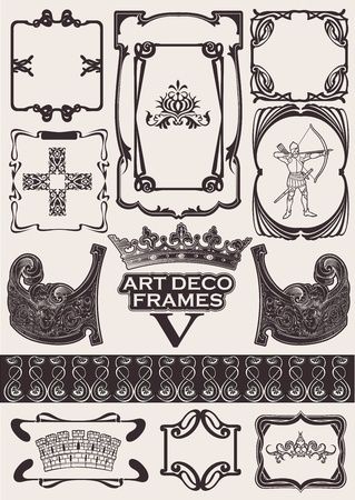 Set Of Ancient Frames In Art-Deco Style Vector